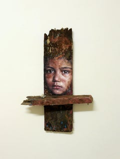 Portrait of young boy on driftwood: 'Nepal (Body and Soul)'