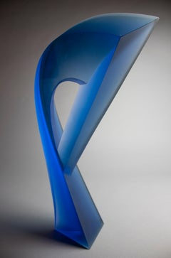 'New Blue Passage' Abstract Glass Sculpture