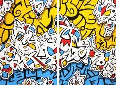 Recycled Depths - Original Graffiti Inspired Artwork (Diptych)