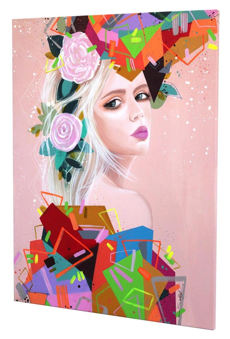 Geometries II - Beige Figurative Painting by Sally K