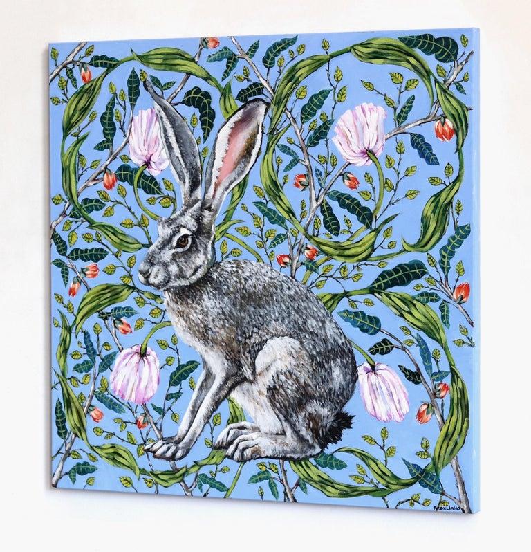 Jack Rabbit - Blue Animal Painting by Naomi Jones