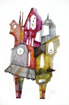 Abstract Interior Drawings and Watercolors