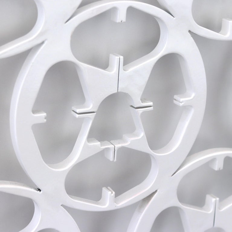 9 Reels - Large Modern White Steel Sculpture - Gray Abstract Sculpture by Granville Beals