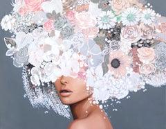 Gray Blush - Floral Figurative Artwork