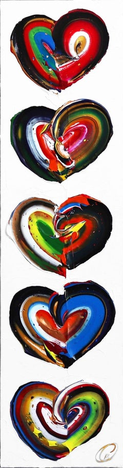 Harmonie - Tall Dynamic Textured Hearts Painting on Canvas