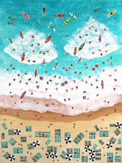 """Aerial Beach and Ocean View Original Textured Painting """"Our Favourite Holiday"""""""