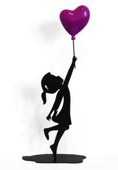Hopeful (15/35) - Figurative Sculpture with Purple Heart Balloon