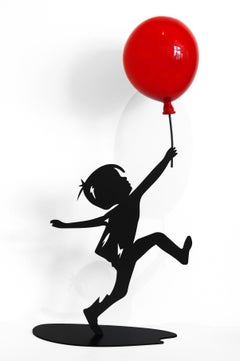 Hope (17/35) - Figurative Sculpture with Red Balloon