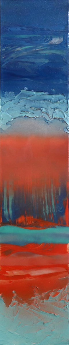 Before Dawn 1 - Tall Vertical Blue Abstract Artwork with Resin on Canvas