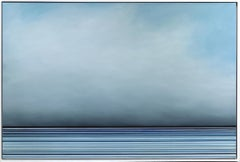 Untitled No. 460 - Large Framed Contemporary Minimalist Blue Artwork