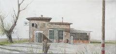 Big size realist Italian watercolour landscape by comic artist Zuccheri