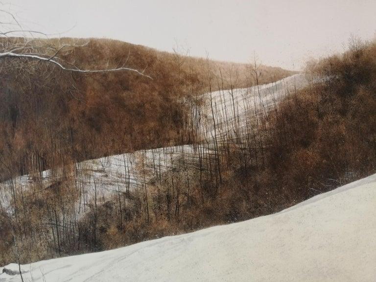 Winter afternoon light - Gray Landscape Art by Laura Zuccheri