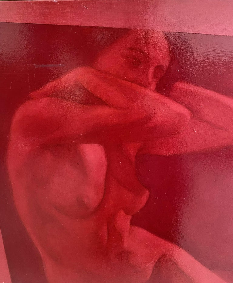 Contemporary nude woman portrait, realistic Italian painter, red oil on canvas - Art by Simone Geraci