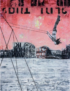 Friday Swing - street art urban landscape grey and red painting on paper