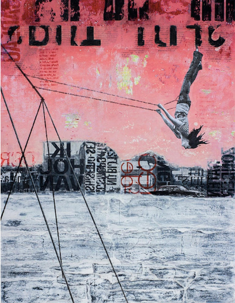 Deb Waterman Figurative Painting - Friday Swing - street art urban landscape grey and red painting on paper