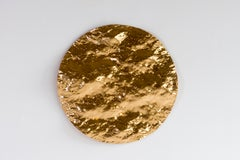 Ocean Sunset #1 -abstract textural round mural glass sculpture with gold leaves