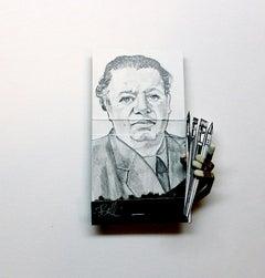 Diego Rivera- figurative black and white portrait on matchbox