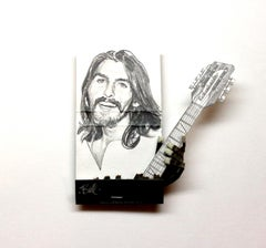 George Harrison- figurative black and white portrait on matchbox