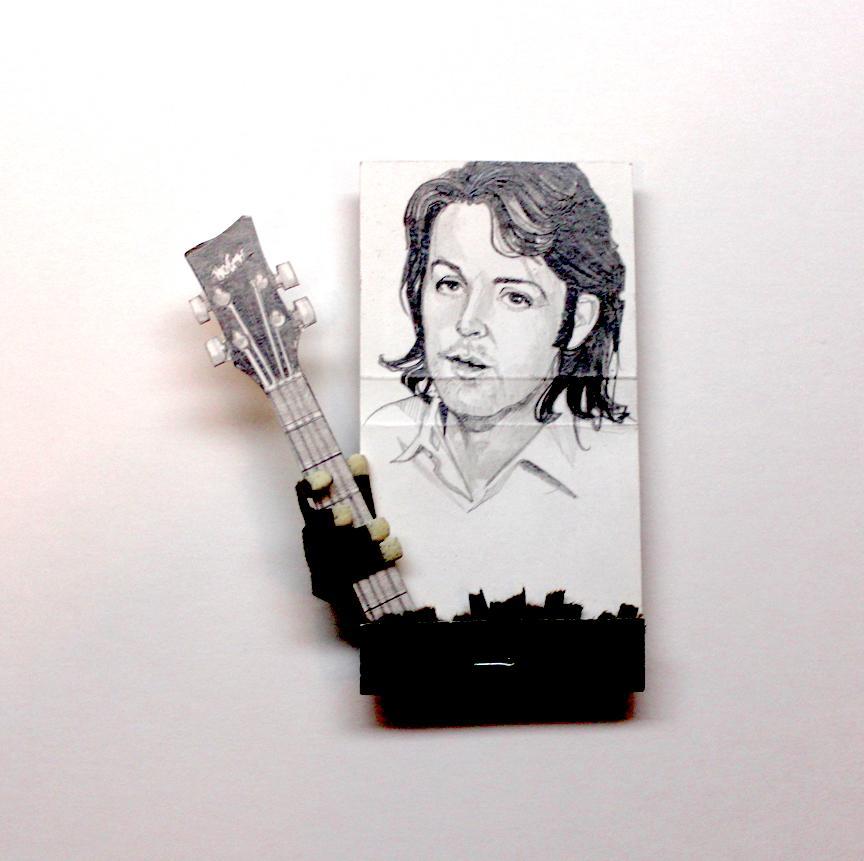 Paul McCartney- figurative black and white portrait on matchbox