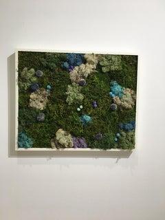 Viridi #21- framed abstract green moss garden wall composition -maintenance free