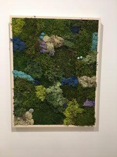 Viridi #22- framed abstract green moss garden wall composition -maintenance free