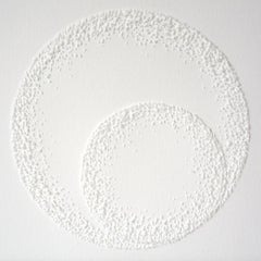 Circle 3 - intricate white 3D abstract geometric drypoint drawing on paper