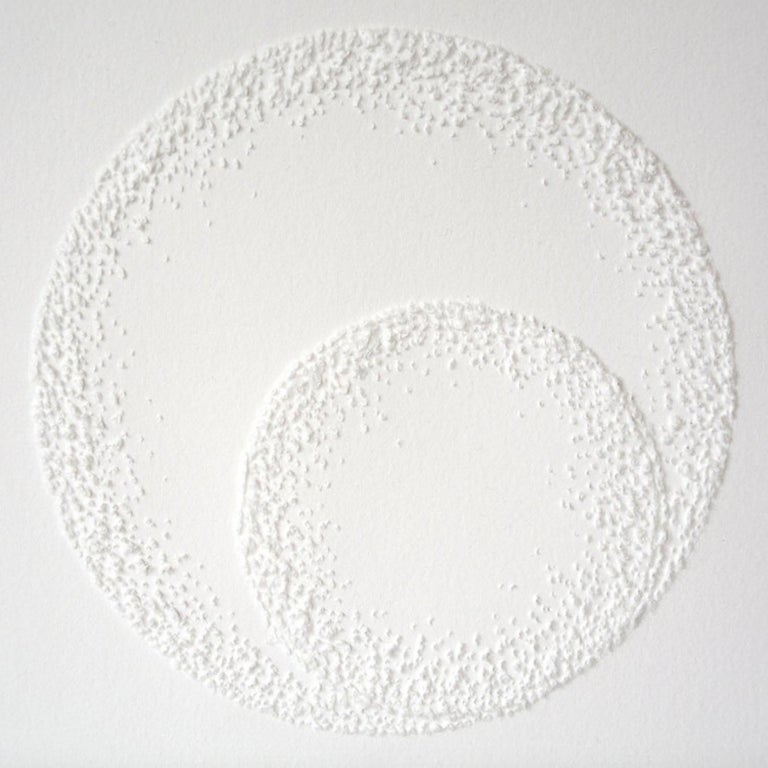 Antonin Anzil Abstract Drawing - Circle 3 - intricate white 3D abstract geometric drypoint drawing on paper