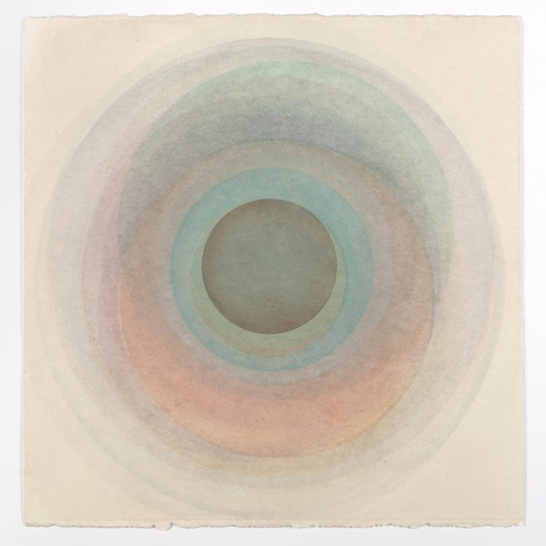 Evan Venegas Abstract Drawing - Coaxist FE919 - Soft pastel color abstract geometric circles watercolor on paper