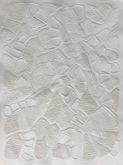 Untitled 1 - intricate white 3D abstract geometric drypoint drawing on paper