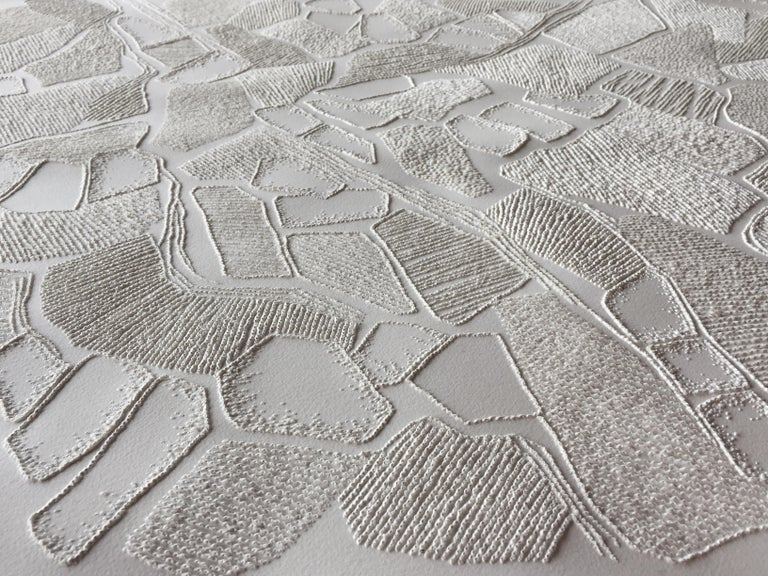 Untitled 1 - intricate white 3D abstract geometric drypoint drawing on paper  - Gray Abstract Drawing by Antonin Anzil