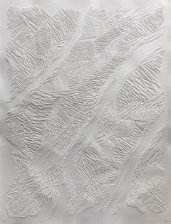 Untitled 3 - intricate white 3D abstract geometric drypoint drawing on paper