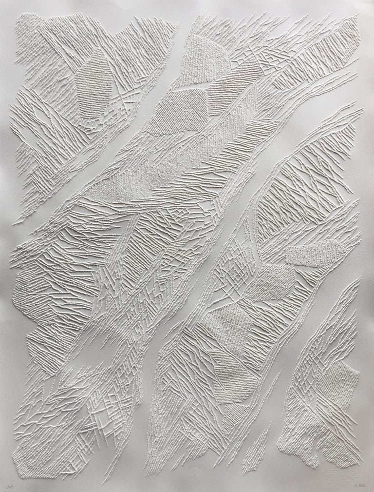 Antonin Anzil Abstract Drawing - Untitled 3 - intricate white 3D abstract geometric drypoint drawing on paper