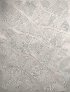 Untitled 5 - intricate white 3D abstract geometric drypoint drawing on paper