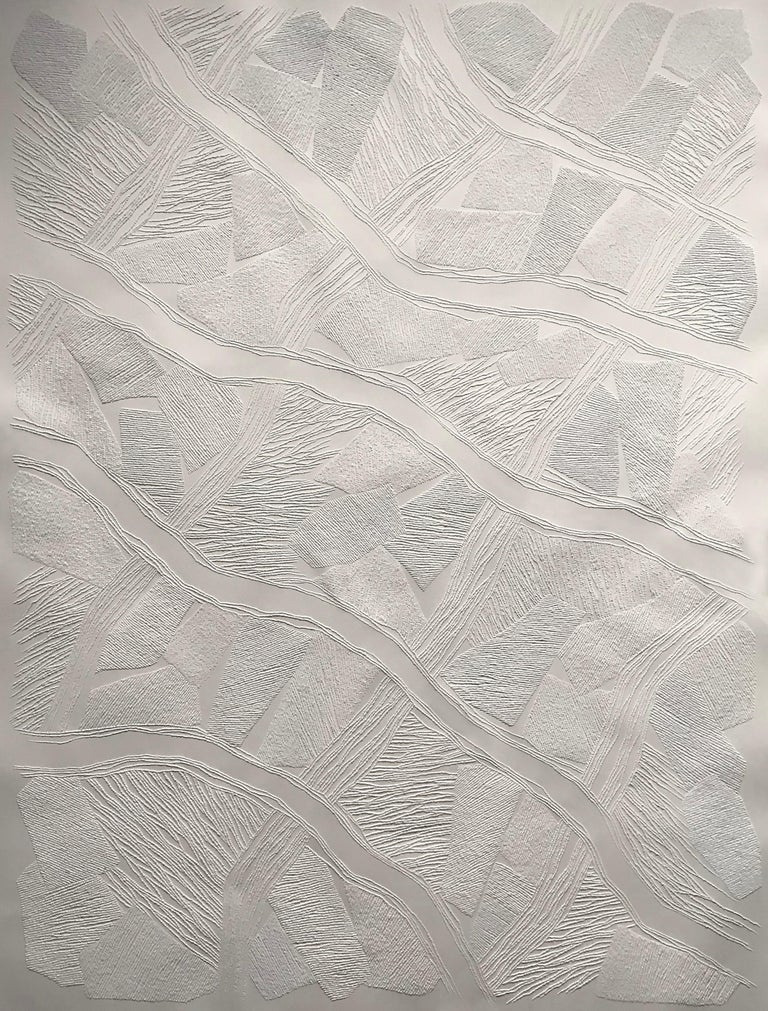 Antonin Anzil Abstract Drawing - Untitled 5 - intricate white 3D abstract geometric drypoint drawing on paper