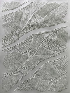 Grey 1 - intricate silver 3D abstract geometric drypoint drawing on paper
