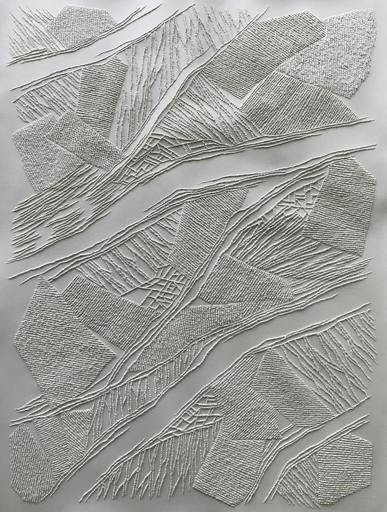 Antonin Anzil Abstract Drawing - Grey 1 - intricate silver 3D abstract geometric drypoint drawing on paper