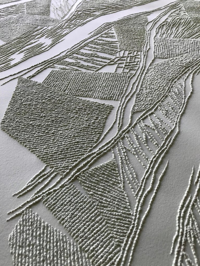 Grey 1 - intricate silver 3D abstract geometric drypoint drawing on paper  - Abstract Geometric Art by Antonin Anzil