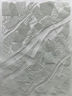 Grey 2 - intricate silver 3D abstract geometric drypoint drawing on paper