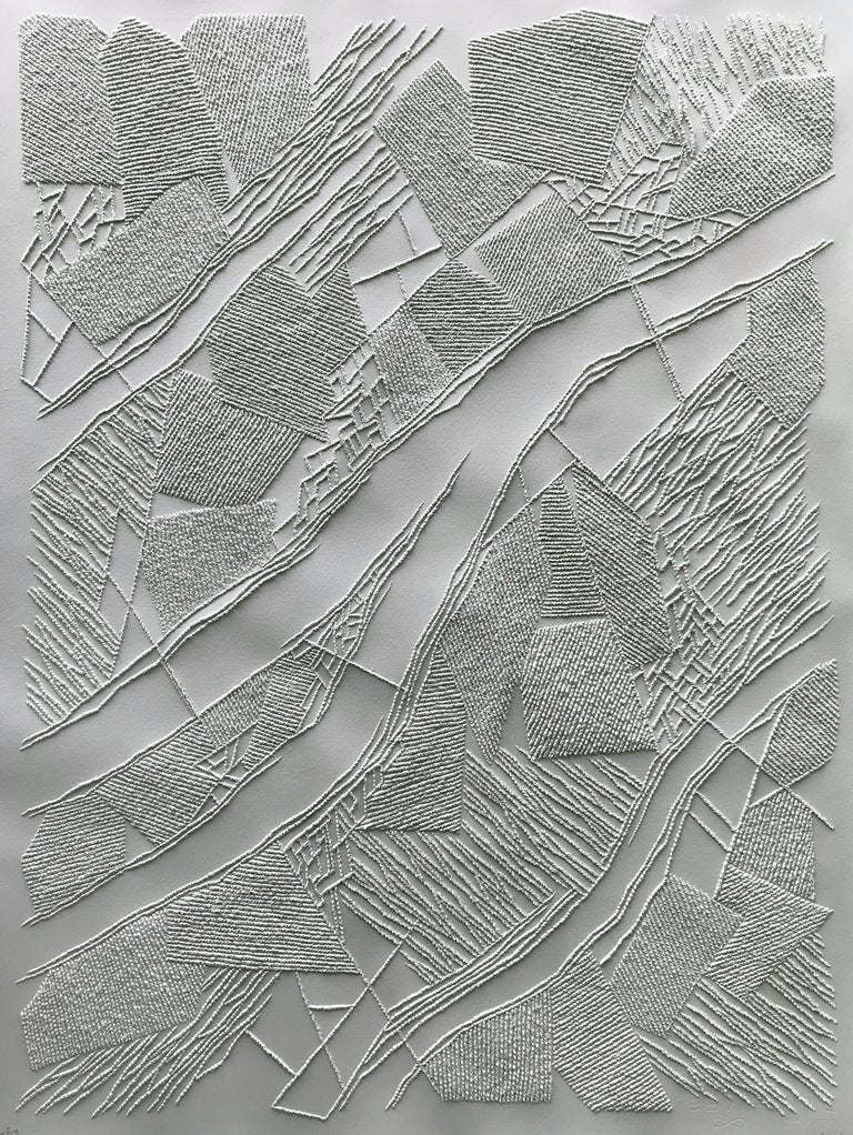 Antonin Anzil Abstract Drawing - Grey 2 - intricate silver 3D abstract geometric drypoint drawing on paper