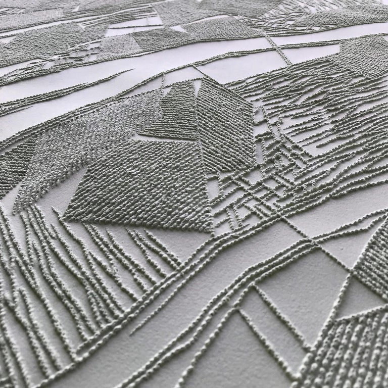 Grey 2 - intricate silver 3D abstract geometric drypoint drawing on paper  - Art by Antonin Anzil