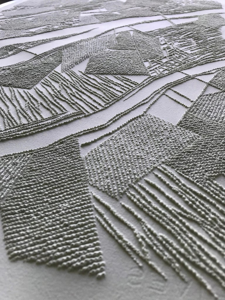 Grey 2 - intricate silver 3D abstract geometric drypoint drawing on paper  - Silver Abstract Drawing by Antonin Anzil
