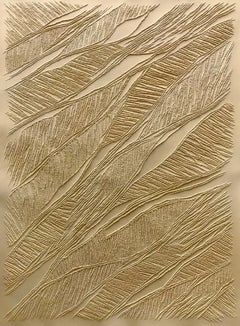 Ochre - intricate gold 3D abstract geometric drypoint drawing on paper