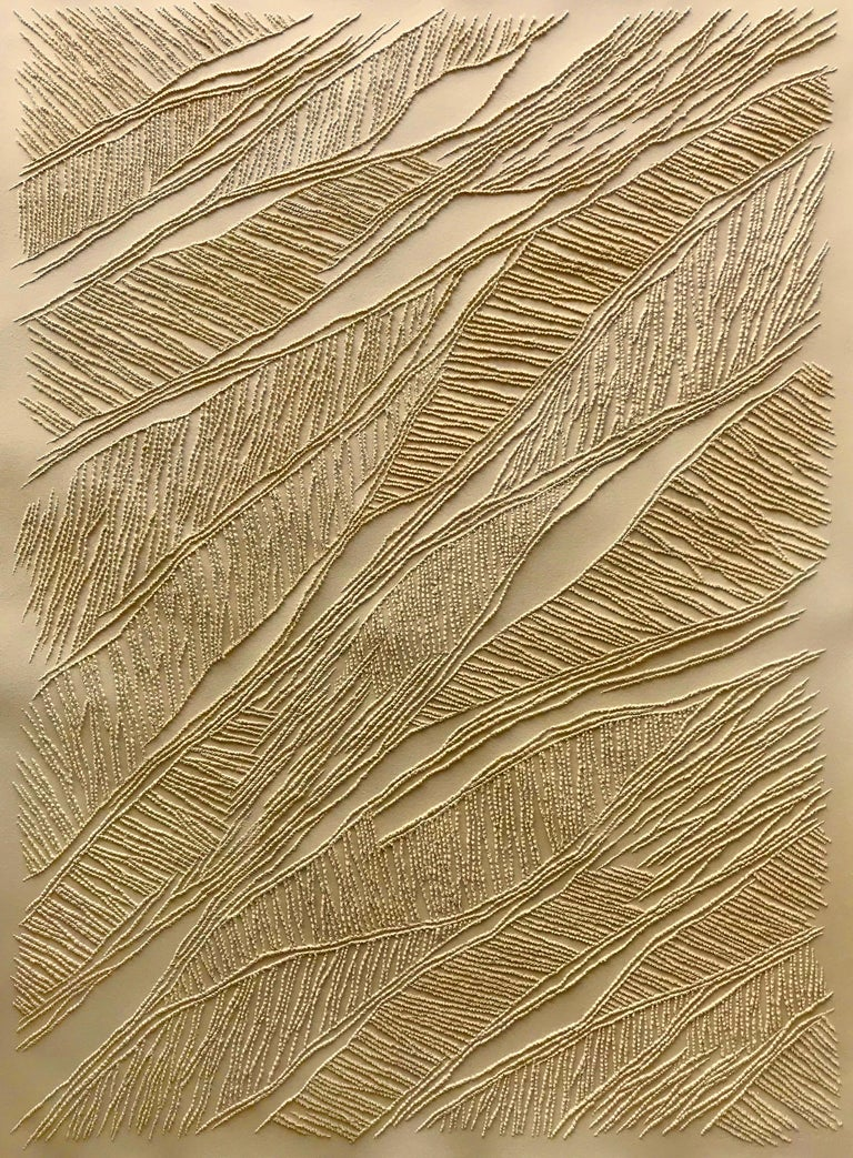 Antonin Anzil Abstract Drawing - Ochre - intricate gold 3D abstract geometric drypoint drawing on paper