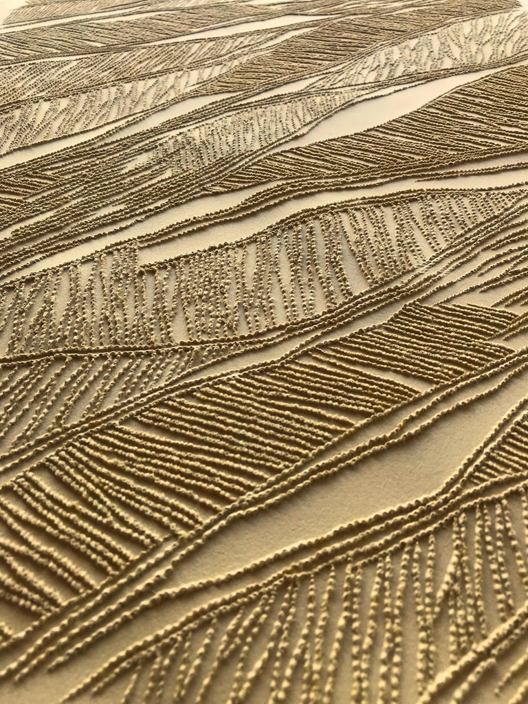 Ochre - intricate gold 3D abstract geometric drypoint drawing on paper  - Art by Antonin Anzil