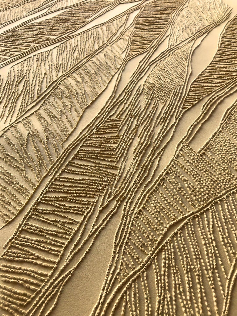 Ochre - intricate gold 3D abstract geometric drypoint drawing on paper  - Abstract Geometric Art by Antonin Anzil