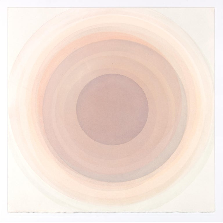Evan Venegas Abstract Drawing - Coaxist MA2119 - Soft pastel color abstract geometric circle watercolor on paper