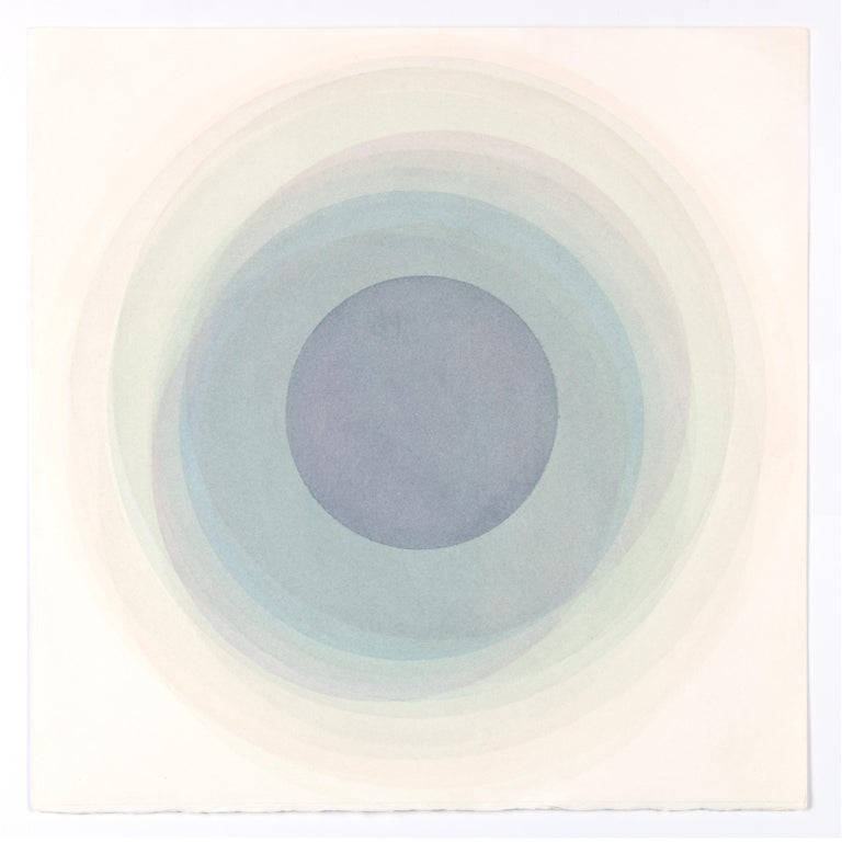 Evan Venegas Abstract Drawing - Coaxist MA2219 - Soft pastel color abstract geometric circle watercolor on paper