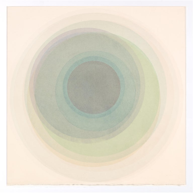 Evan Venegas Abstract Drawing - Coaxist OC218 - Soft pastel color abstract geometric circles watercolor on paper