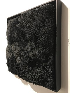 Textured Shadow- black 3D organic feel contemporary abstract mural sculpture