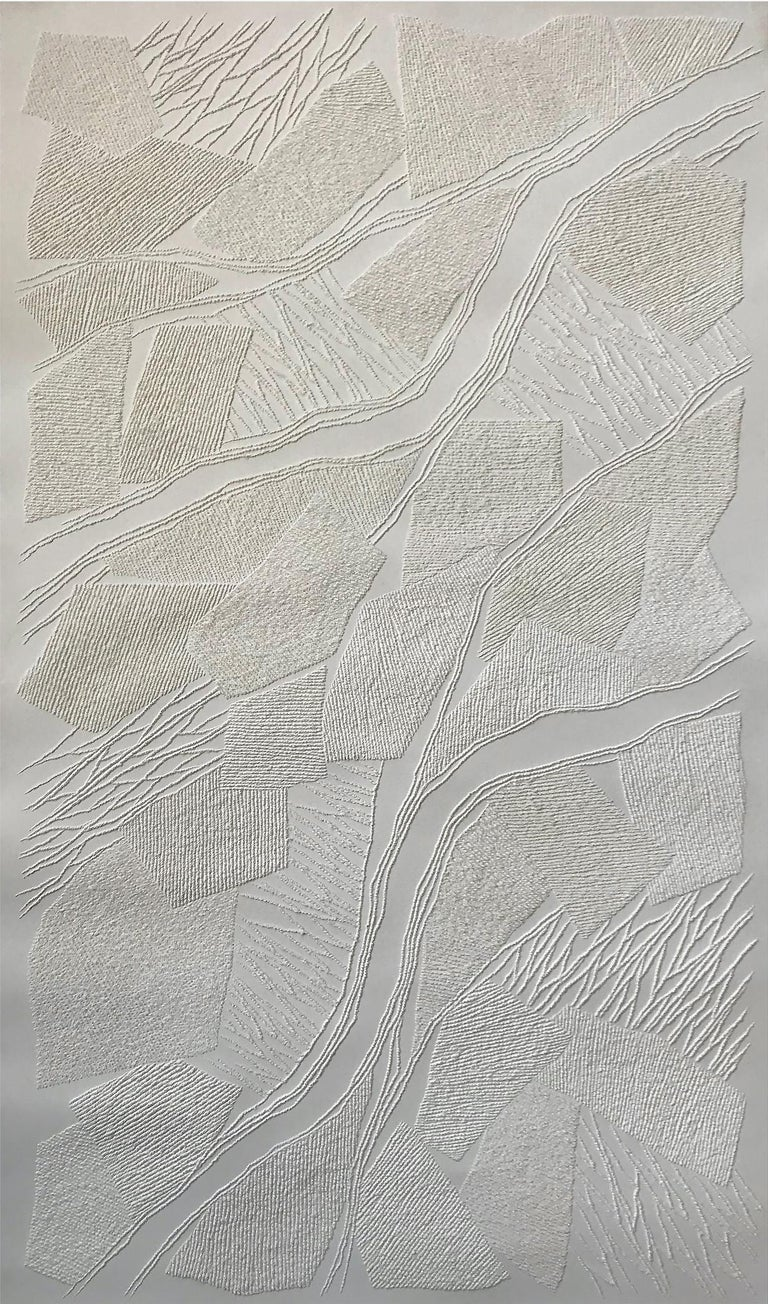 Dyptich 1 - intricate beige 3D abstract geometric drypoint drawing on paper  - Beige Abstract Sculpture by Antonin Anzil